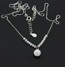 Solid 925 Sterling Silver, Cubic Zirconia / CZ Ball Pendant Necklace jewellery