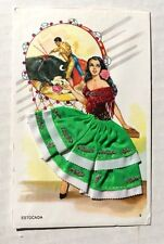 Vintage Silk Embroidered Post Card Beautiful Spanish Lady Dreams of Matador