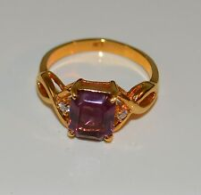 Gold Tone Metal Square Amethyst Design size 9 S T