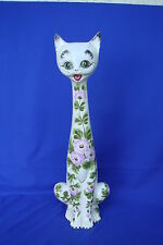 FLORAL CAT - LARGE MIDCENTURY - ADORABLE ITALIAN POTTERY ART - HAND MADE - ITALY