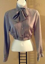 Women's Elastic Waist Cropped Top Neck Bow Tie Long Sleeve Pleated Blouse S