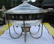 Vintage Mid Century Atomic Fire King Divided Serving Dish and Metal Warmer