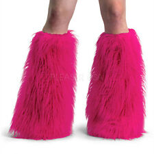 Yeti-01 Sexy Faux Fur Hot Pink Leg Warmers Boot Covers Gogo Dancer Rave Raver