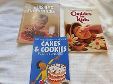 3  Cookbooks; BH&G Cookies for Kids, Hershey's Kids Snacks, Usborne Cakes.....