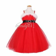 NEW Kids Girls Toddler Christmas Wedding Party Pageant Tulle Gown Dress Size 7-8