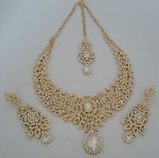 Indian Bollywood Gold White Crystal Jewellery set inc Necklace Earring and Tikka