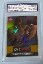Quinton Rampage Jackson Signed UFC 2010 Topps Greats of the Game Card 11 PSA/DNA