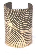 D12 Spiral Texture Antique Gold Art Deco Wide Cuff Bracelet $79