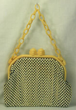 1940s ART DECO WHITING & DAVIS ALUMESH METAL MESH HANDBAG CELLULOID FRAME CHAIN