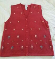Stephanie K for Koret Ladies Rust Red Embroidered & Beaded Sweater Vest SM NWTs