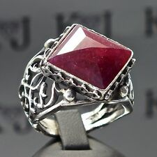 Silver Ring Ruby Men Sterling 925 Red natural stone Mens Jewelry Yaqoot Rubin