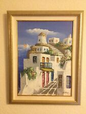 MITCH BILLIS ACRYLIC PAINTING ON CANVAS MEDITERRANEAN SCENE ~ Greece