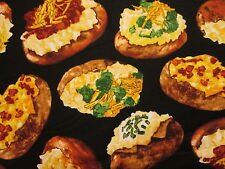 Baked Potatoe Snacks Food Potatoes with Toppings Cotton Fabric FQ
