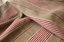 Antique French Ticking fabric PRIMITIVE linen old early c1850 DISTRESSED