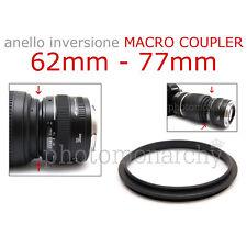 Anello MACRO COUPLER adattatore INVERSIONE 62mm - 77mm 62 77 Canon Nikon Sony