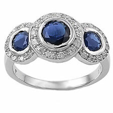 3CT THREE STONE GEMSTONE RING! .925 Sterling Silver Ring Size 5 -10 5 COLORS!