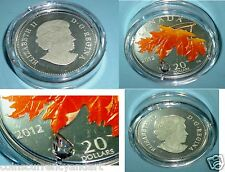 Swarovski Crystal Raindrop CANADA 2012 Color $20 Coin. Silver Sugar Maple Leaf