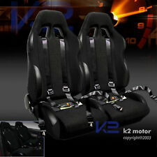 2 X Reclinable Racing Seats Black w/4 Point Safety Harness Belt Belts