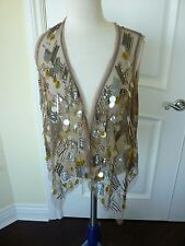 Chico's embellished Vest sleeveless Newport Taupe size 1 S 8/10 New with tag