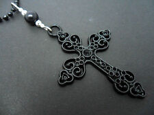 "A LOVELY BIG  BLACK CROSS/CRUCIFIX NECKLACE. GOTH. 26"" LONG. NEW."