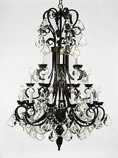 "24 LIGHT LARGE BEAUTIFUL 30""X50"" METAL OR WROUGHT IRON CRYSTAL CHANDELIER FOYER"