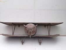 "FABULOUS METAL SHELF UNIT BIPLANE DESIGN 30.5x10x9.5"" - great gift"