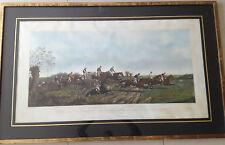 Herring 1868 GROTE prent paardenrace horses steeple chase  Waregem koerse