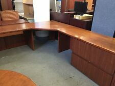 8 1/2ft x 8 1/2ft CORNER DESK by HAWORTH OFFICE FURNITURE in CHERRY finish WOOD