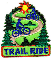 """TRAIL RIDE"" w/BIKE RIDERS - Iron On Embroidered Applique Patch, Sports,Games"