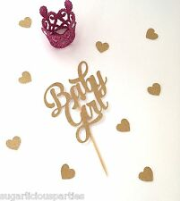 'Baby Girl' Gold Glitter Cake Topper, Baby Shower Cake Topper Decoration