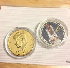 JFK HALF DOLLAR Gold Plate COIN COLUMBIA SPACE SHUTTLE MISSION