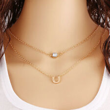 Women Gold Plated Multilayer horseshoe Pendant Chain Short Necklace
