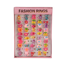 50pcs Vintage Cute Kids Cartoon Plastic Rings Gift Wholesale Pink Square Box