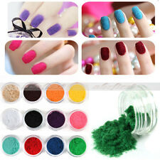 12 pcs Colors Nail Art Glitter Velvet Flocking Powder for Acrylic liquid UV GEL