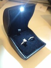 Black LED Lighted Engagement Proposal Ring Box Jewelry Gift Box Case PU Leather