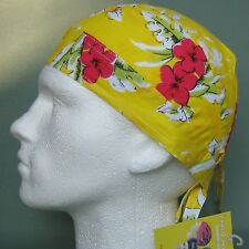 Yellow Hawaii Bandana Do Rag,flowers,floral,hat,red,fitted NEW