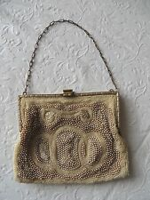 Vintage Antique White Micro Beaded and Micro Pearl Purse Evening Bag