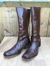 Womens Ravel Brown Leather Ankle Harness Knee High Boots - UK 6 EU 39