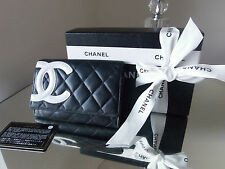 CHANEL PURSE 100% AUTHENTIC COCO BLACK CAMBON LIGNE QUILTED WALLET ~ BOX & CARD