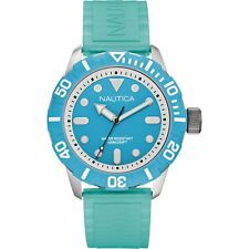 New Nautica Men's Nsr 100 Watch A09602G With Blue Dial and Blue Silicone Strap