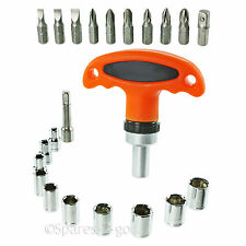 23 Pce Mini T Screwdriver Set Ratchet Stubby Tool Phillips Flat Pozi Socket Kit