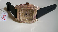 ICED OUT MEN'S GOLD FINISH TECHNO PAVE LAB DIAMOND SIMULATE SQUARE WATCH