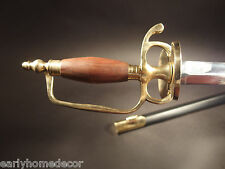 Antique Style French Hanger Cutlass Sword Brass Wood French Indian War Rev War
