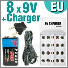 8 X 9v 350mah Batería Recargable Ni-mh + Cargador de la UE