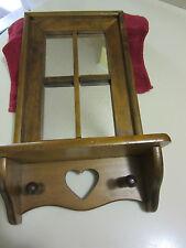 """Unique Oak 9"""" Wooden """"Window Pane"""" Knick-Knack Shelf Decor W/Heart Cut Out/Pegs"""