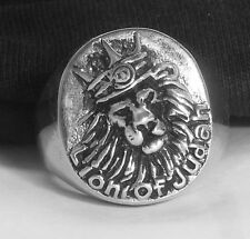 LION OF JUDAH WITH CROWN 925 SILVER RING Rastafari Ethiopia Africa Jamaica Ganja