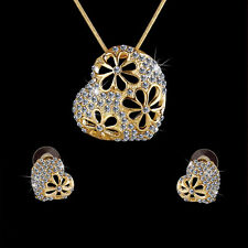 Heart Women Jewelry Set Flower Gold Plated Austrian Crystal Necklace Earrings