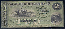 1862 US Obsolete Currency $2 Civil War - Manufacturers Bank, Macon GA - F/VF*