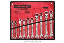 10pc Ratchet Spanner Set Combi Flexi Metric Flexible Combination Wrench 10-19mm