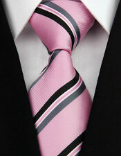 AS0203 Pink Black Stripe Classic Elegant Woven 100%Silk Necktie Man's Tie